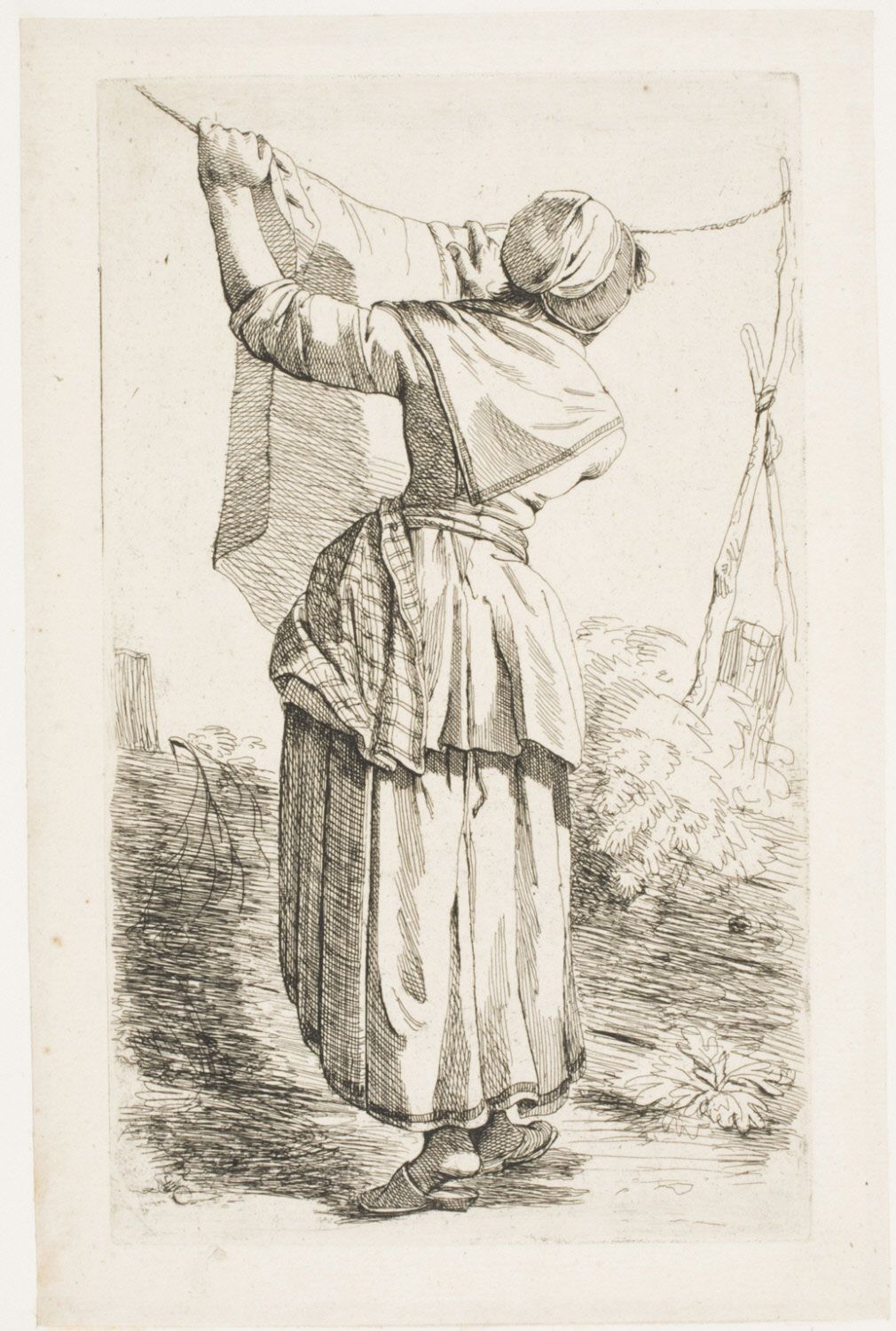 Woman Hanging Out Laundry From A Series Of 6 Prints Of Men And Women Netherlands C 1790s Philadel 18th Century Paintings 18th Century 18th Century Clothing