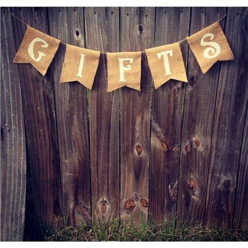 Burlap Gifts Banner.  Rustic Country Wedding Decorations and Reception Ideas.  #wedding #rustic #country