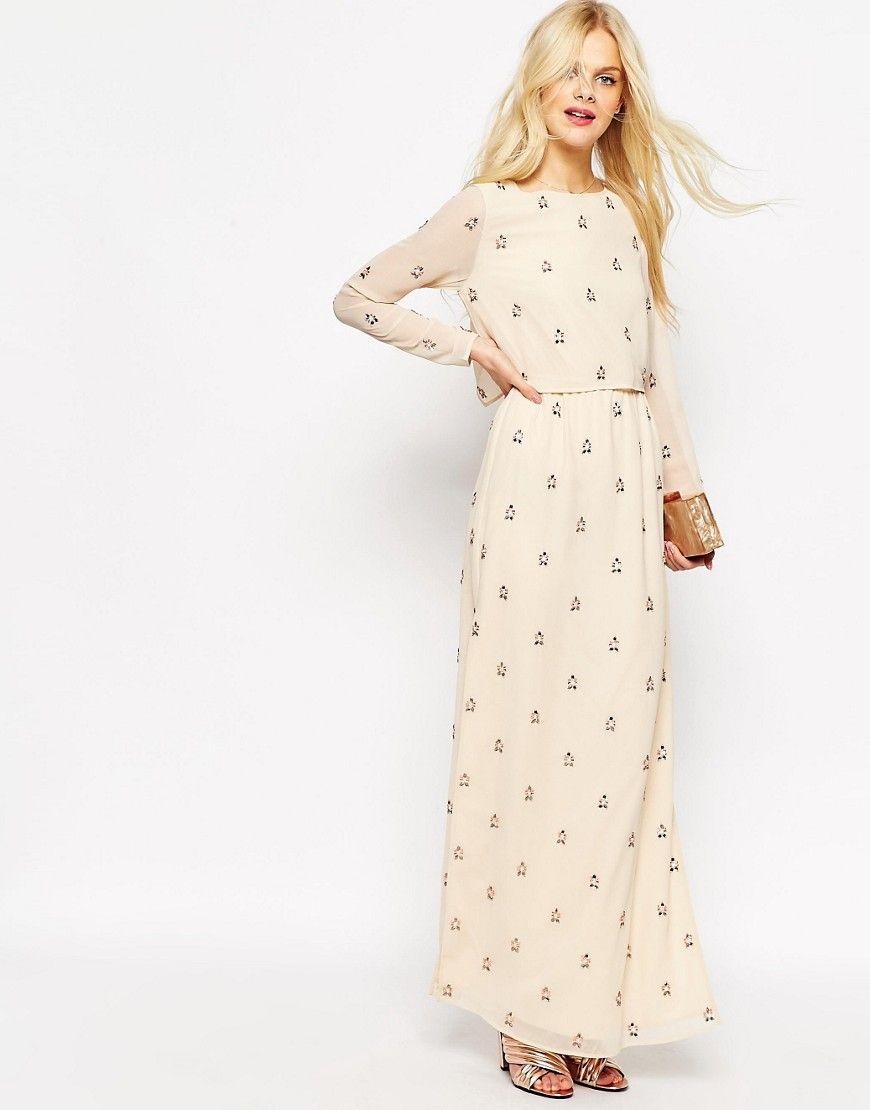 f60c970ae83 Embellished Long Sleeve Crop Top Maxi Dress | Gorgeous Gowns | Maxi ...