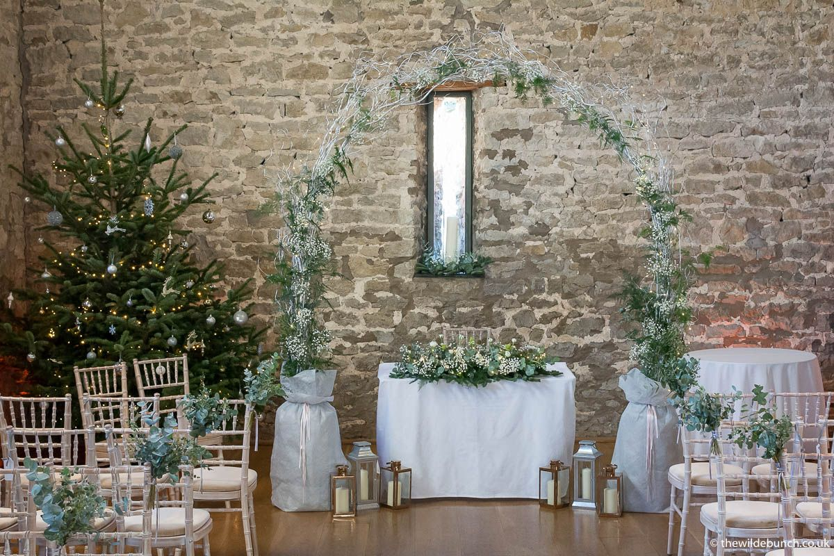 Our First Christmas Wedding Design For 2017 At Priston Mill Tythe Barn This Is The Largest Of Handmade Twiggy Arches And It Works So Well Within