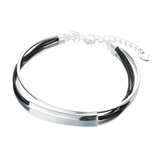 SILVERAGE Sterling Silver Leather Double layer Bangle Bracelet  http://stylexotic.com/silverage-sterling-silver-leather-double-layer-bangle-bracelet/