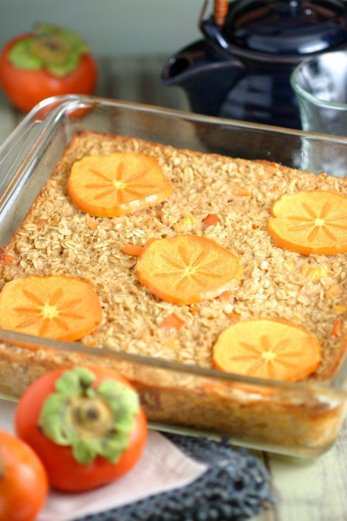 This gluten-free and vegan Persimmon Baked Oatmeal presents all the yumminess of oatmeal in a conveniently sliceable and reheatable format.