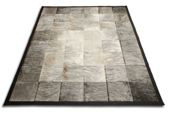 Gray Brindle White Patchwork Area Rug