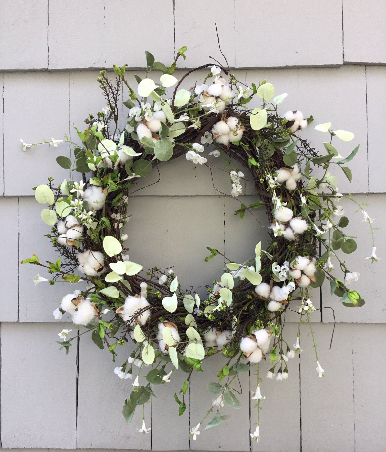Spring Summer Green And White Wreath With Eucalyptus Cotton Bolls Pale Green Leaves And Small White Flowe White Wreath Faux Floral Arrangement Large Wreath