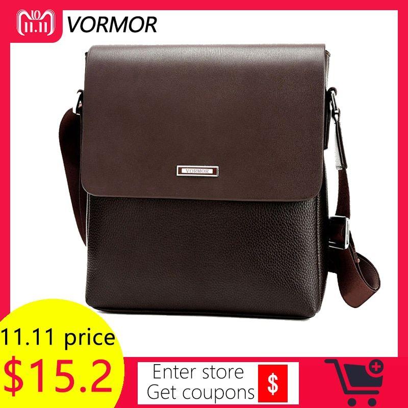46c2a77a94 VORMOR 2018 Promotion Designers Brand Men s Messenger Bags PU Leather  Vintage Men Shoulder Bag Man Crossbody