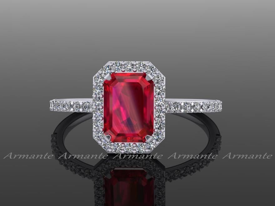 Ruby Emerald Cut Engagement Ring, Natural Diamond 14K White Gold Halo Ring, Wedding Ring RE0005 by Armante on Etsy