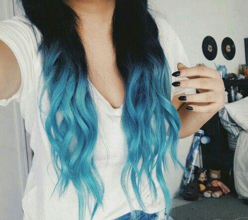 Girls With Blue Hair Hair Styles Dip Dye Hair Blue Ombre Hair