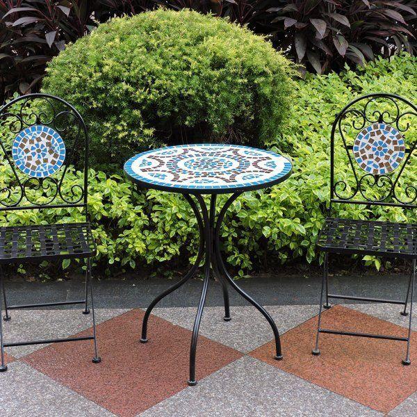 Mosaic Bistro Set Garden Patio Table Chairs Metal Steel Ceramic