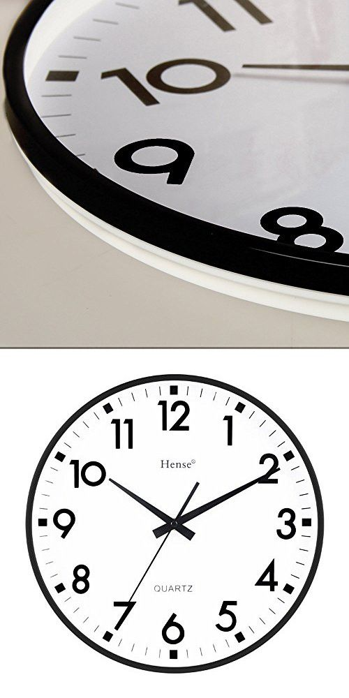 HENSE Concise Modern Minimalist Wall Clock 13 Inches Non Ticking Silent Quiet Sweep Second Decorative Vintage Wall Clock HW55 (Black)