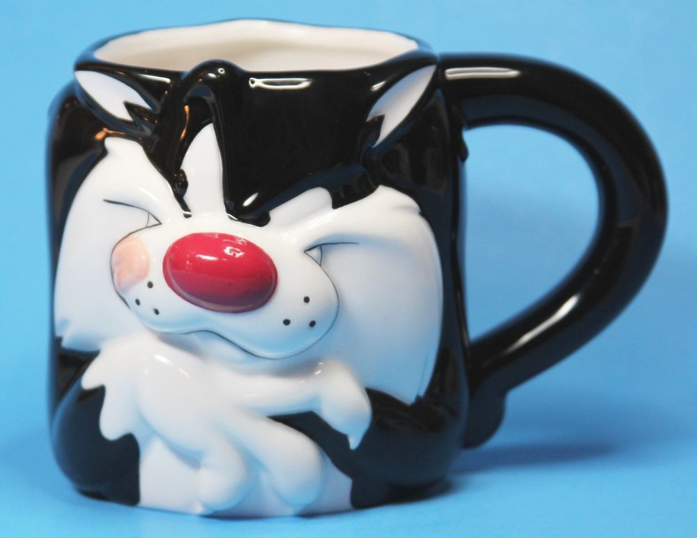 Sylvester Cat Tweety Bird Coffee Mug Cup Looney Tunes 3D Black White