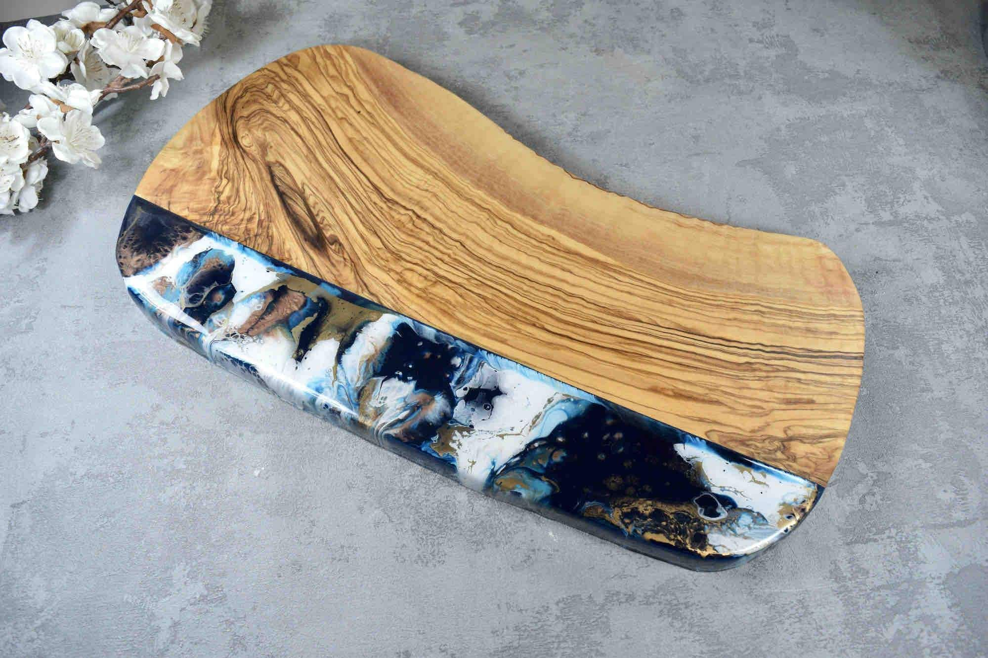 Resin Chopping Board with Blue Bronze Gold Resin Art 40cm