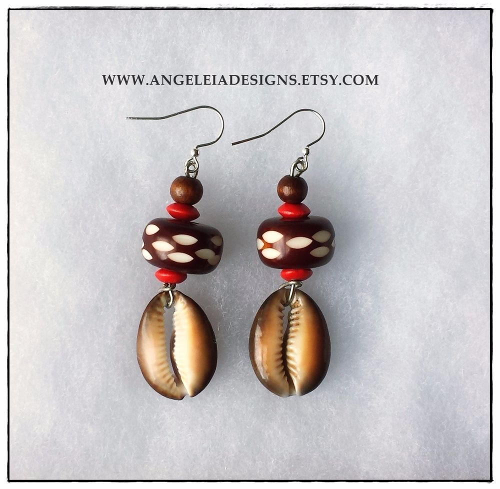 Brown And Red African Earrings, Cowrie Shell Earrings #angeleiadesigns  #dangle