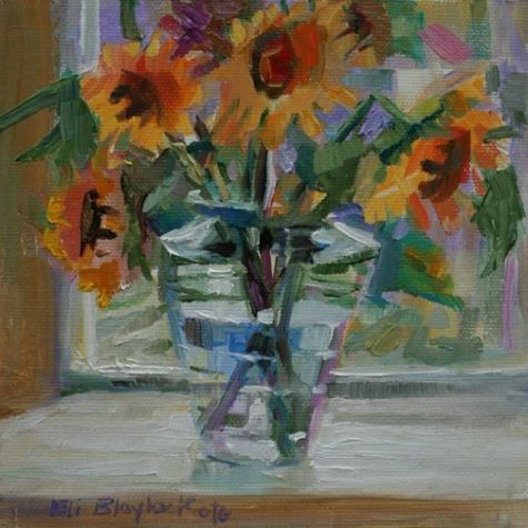 Oil Painting Of Sunflowers In A Glass Vase Original Art Painting By