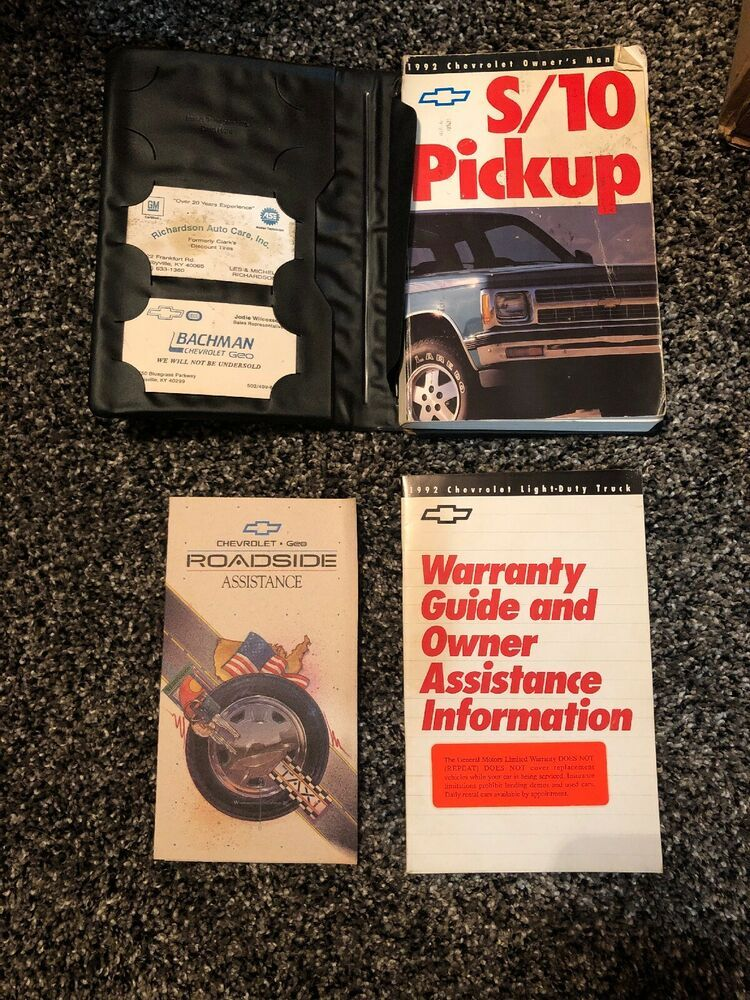 Advertisement Ebay 1992 Chevy S 10 Pickup Owners Manual Owners Manuals Chevrolet S 10 Manual