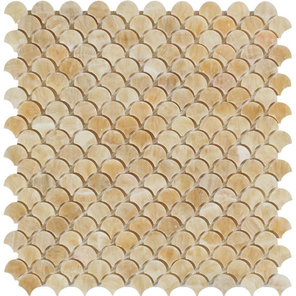 Honey Onyx Polished Raindrop Mosaic Tile Mosaic tiles