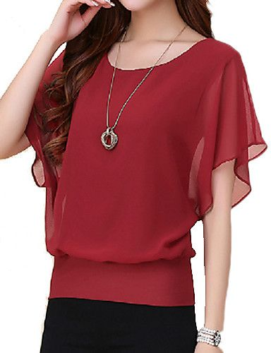 b0a43351a89a92 Women's Plus Size Summer T-shirt,Solid Round Neck Short Sleeves Polyester  Thin