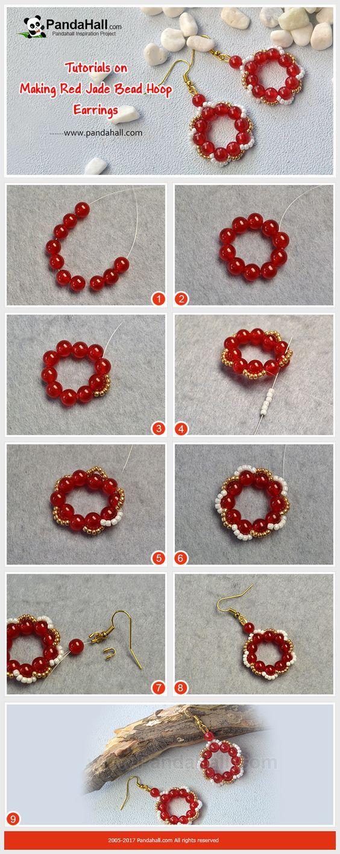 Photo of Rote Jade Perlen Creolen Die Ohrringe aus roten Jade Perlen und Rocailles h …