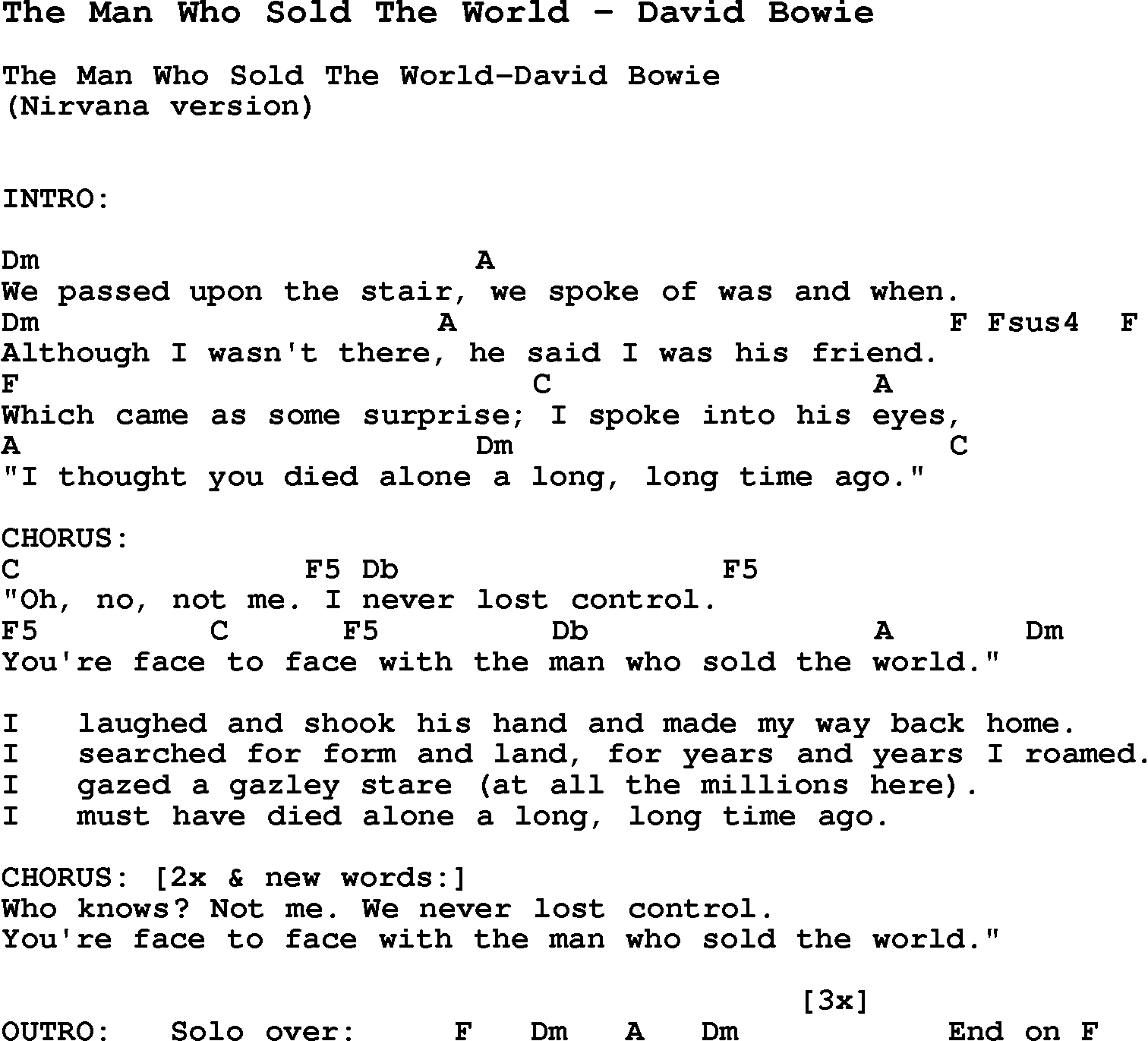 Song The Man Who Sold The World By David Bowie With Lyrics For