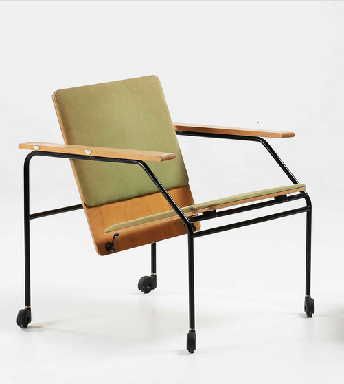 Anonymous; Plywood and Enameled Metal Armchair by Vivero Oy, 1966 ...