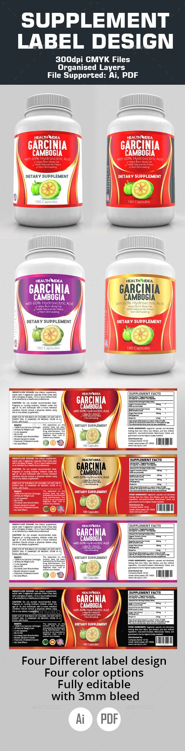 Supplement Label Templates | Label templates, Ai illustrator and ...