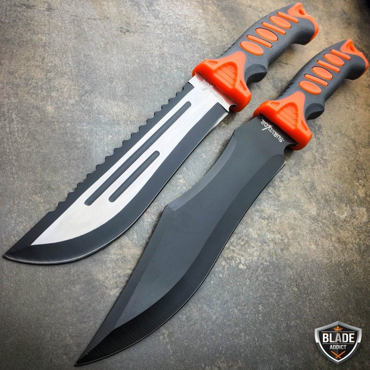 Camping tactical hunting rambo bowie survival fixed blade axe knife machete new