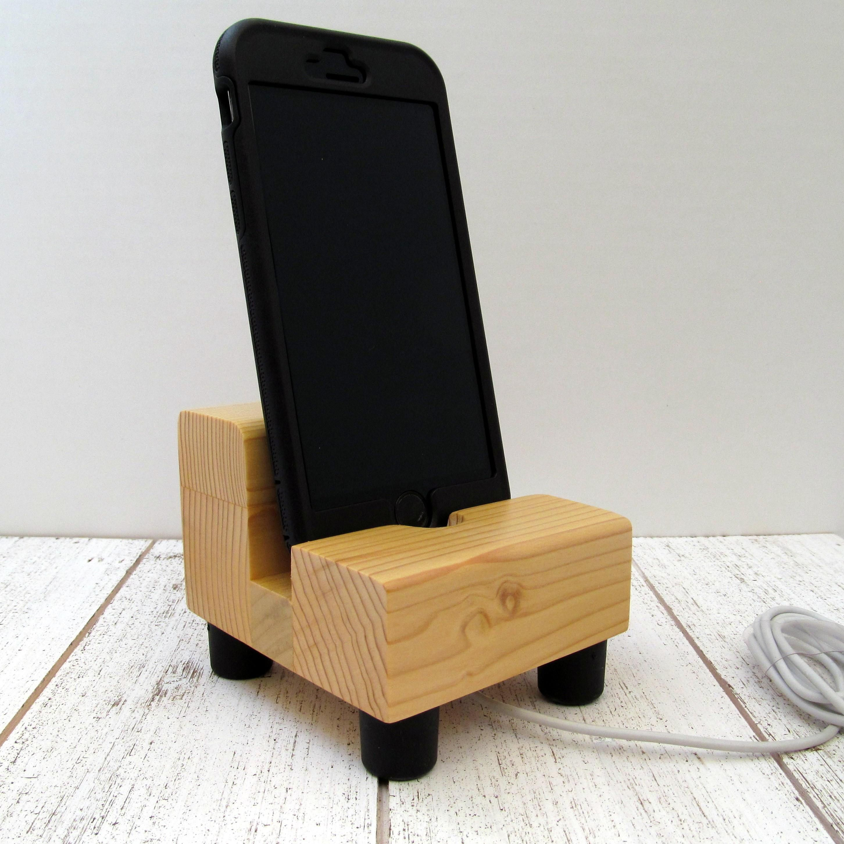 Phone Charging Stand Natural Wood Cell Phone Dock Charging