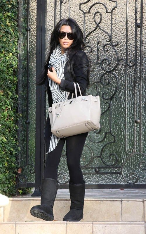 Casual cold weather Kim Kardashian style outfit. australiauggshoes.org UGG Bailey Button Triplet 1873 Grey For Sale In UGG Outlet - $119 Save more than $100 ...