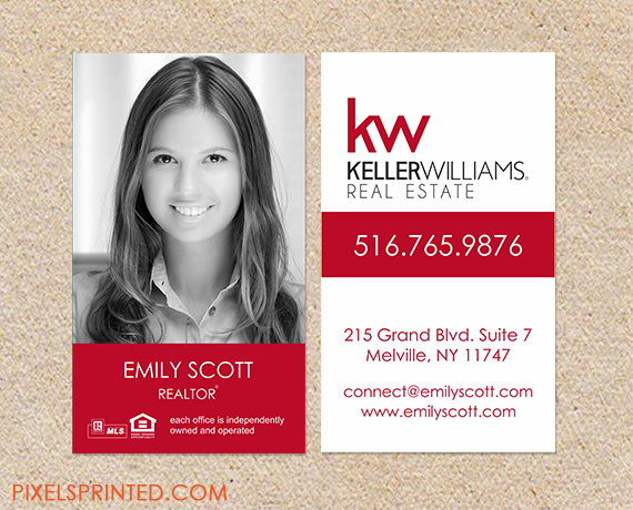 Keller williams real estate business cards thick color both sides realtor business cards real estate agent business cards simple modern real estate agent cards reheart Images
