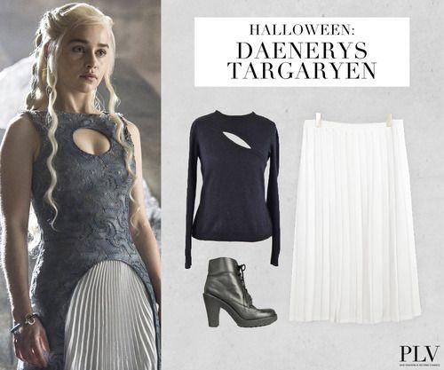 Wer ist das? Mother of Dragons, Kämpferin für Gerechtigkeit und Anführerin der Targaryens: https://www.youtube.com/watch?v=eXa8s4HzzY4  Was macht den Look perfekt? Zwei kleine Drachen oder zumindest Dracheneier.  Wo find ich das Outfit? http://www.plvfashion.ch/de/promotion/224/game-of-thrones-khaleesi