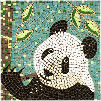 Panda Aleamosaic Com Mosaic Art Mosaic Animals Panda Art
