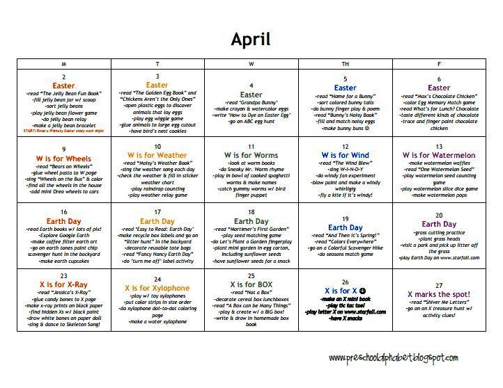 397472e7791ebf6f449b8adce9263543 Preschool Planner April