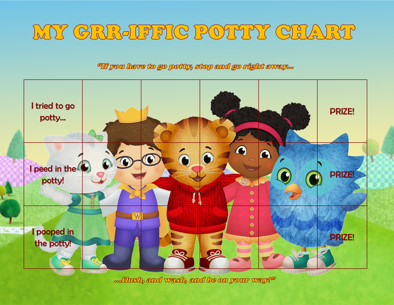 I Created This Potty Chart For My 3yo Since He Absolutely Loves Daniel Tiger This Image Should Be A Perfect Fit Potty Chart Potty Training Chart Toddler Play