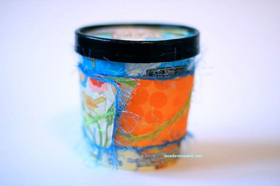 Reusable Eco Friendly Ice Cream PInt Cozy @benandjerrys Creamsicle Spring by taradara