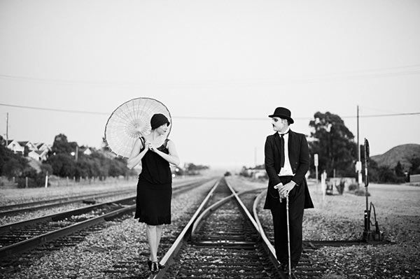 silent movie cinema charles chaplin inspired engagement photos