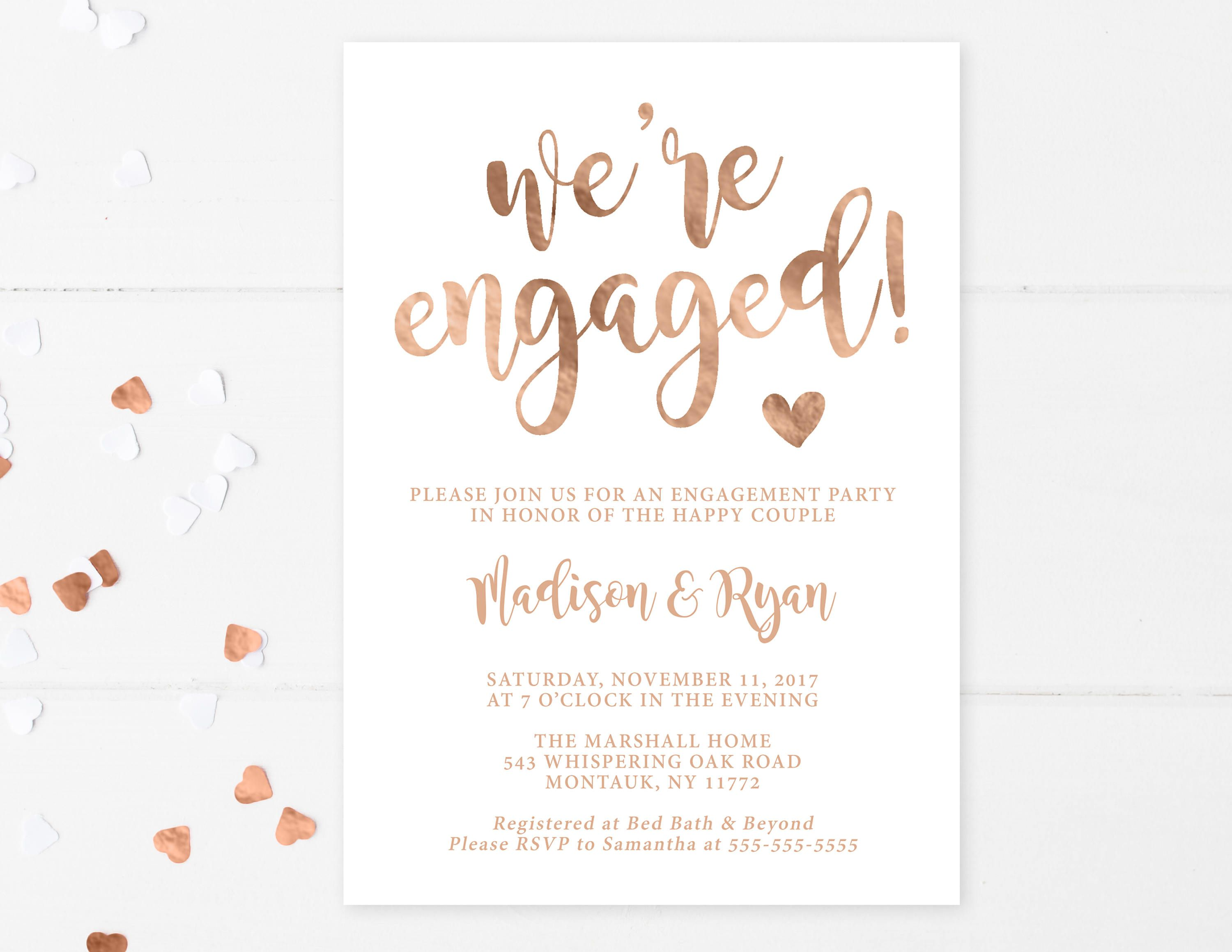 engagement party invitation were engaged rose gold