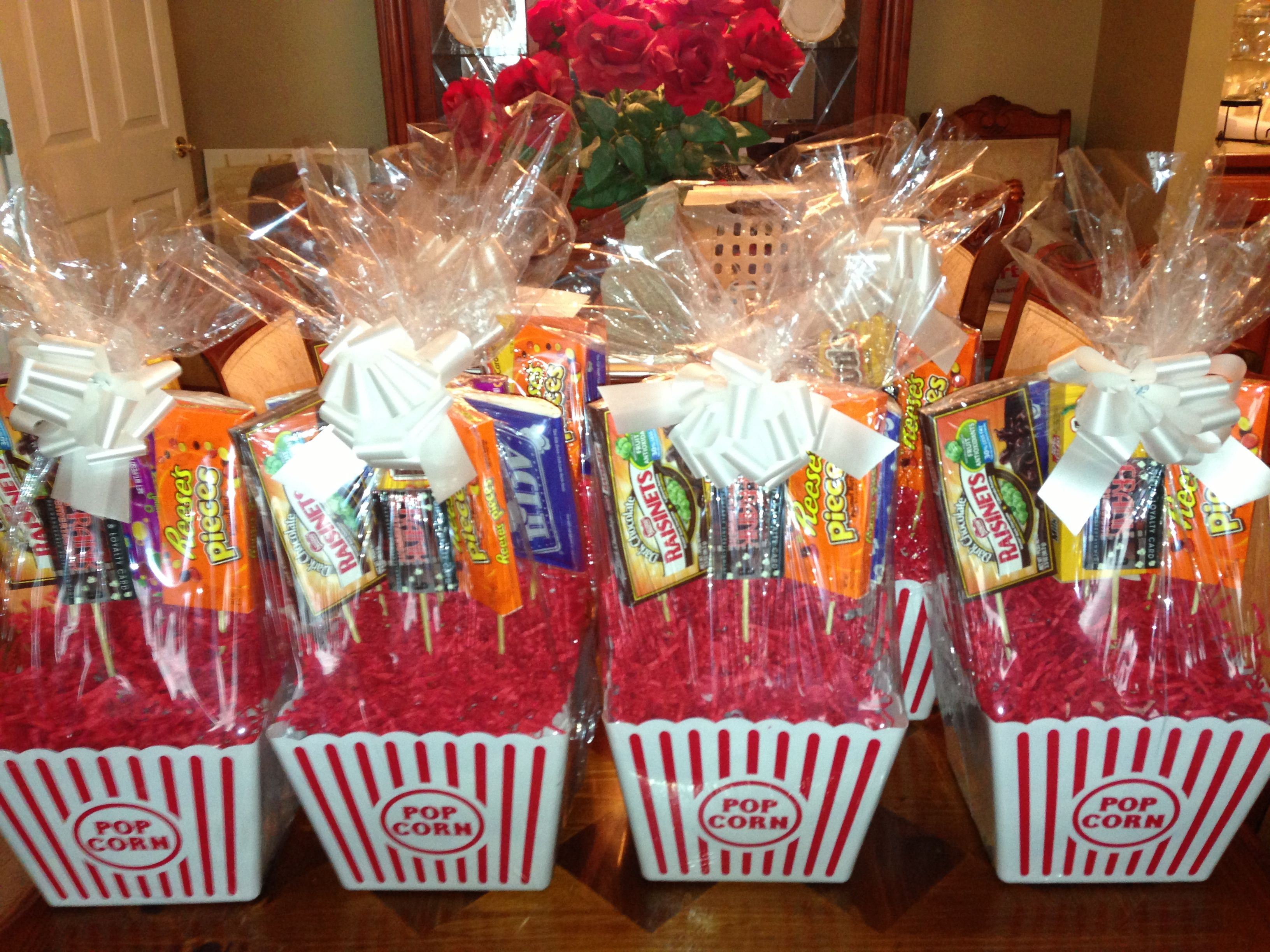 Movie gift baskets each contains a 10 movie theatre gift for Homemade christmas gift baskets for couples