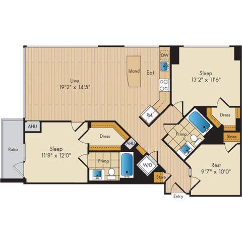 2 Bed 2 Bath W Den Sig Apartment Floor Plans Floor Plans Luxury Apartments