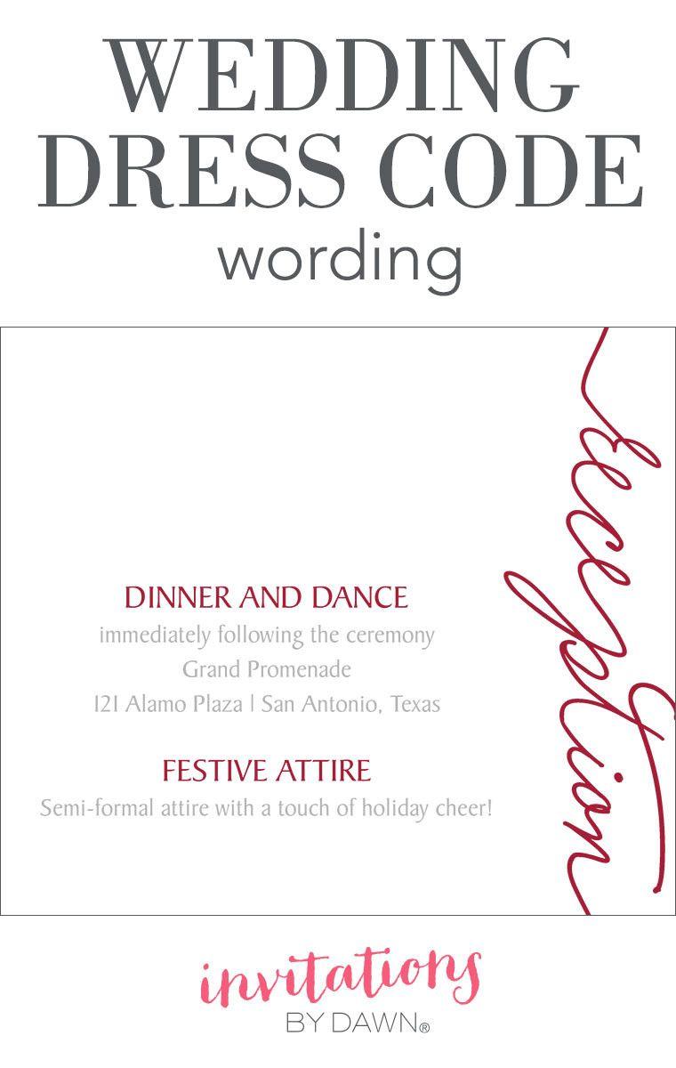 Wedding Dress Code Wording Invitation Examples Invitations