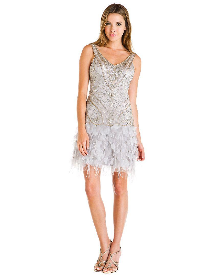 Sue Wong Platinum Beaded Feather Skirt Dress #artdeco   art deco ...