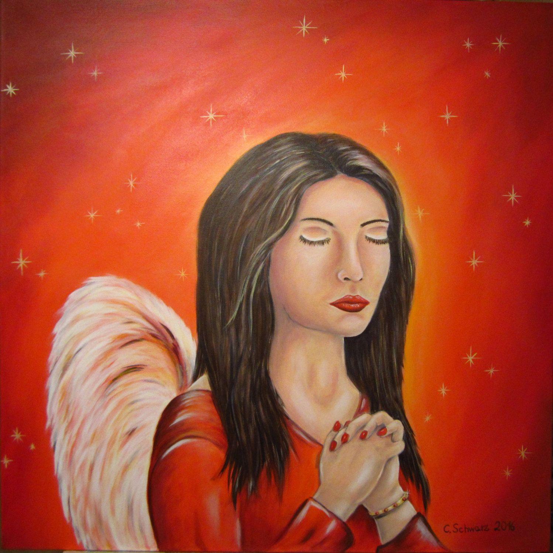 Betender Engel, ca. 80cmx80cm, handgemaltes Acrylgemälde auf Leinwand, Unikat, Kunst, Malerei, Engel, Bild, Geschenk, rot, Wanddeko, von acrylfee auf Etsy