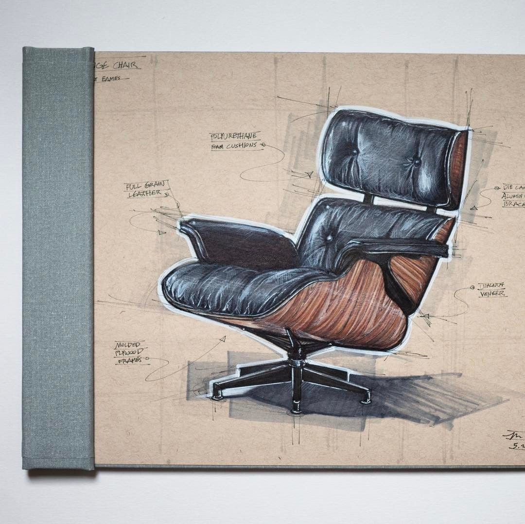 Industrial Design Sketch Of The Eames Lounge Chair From Herman Miller Drawn With Copic Markers - Stühle Design Eames
