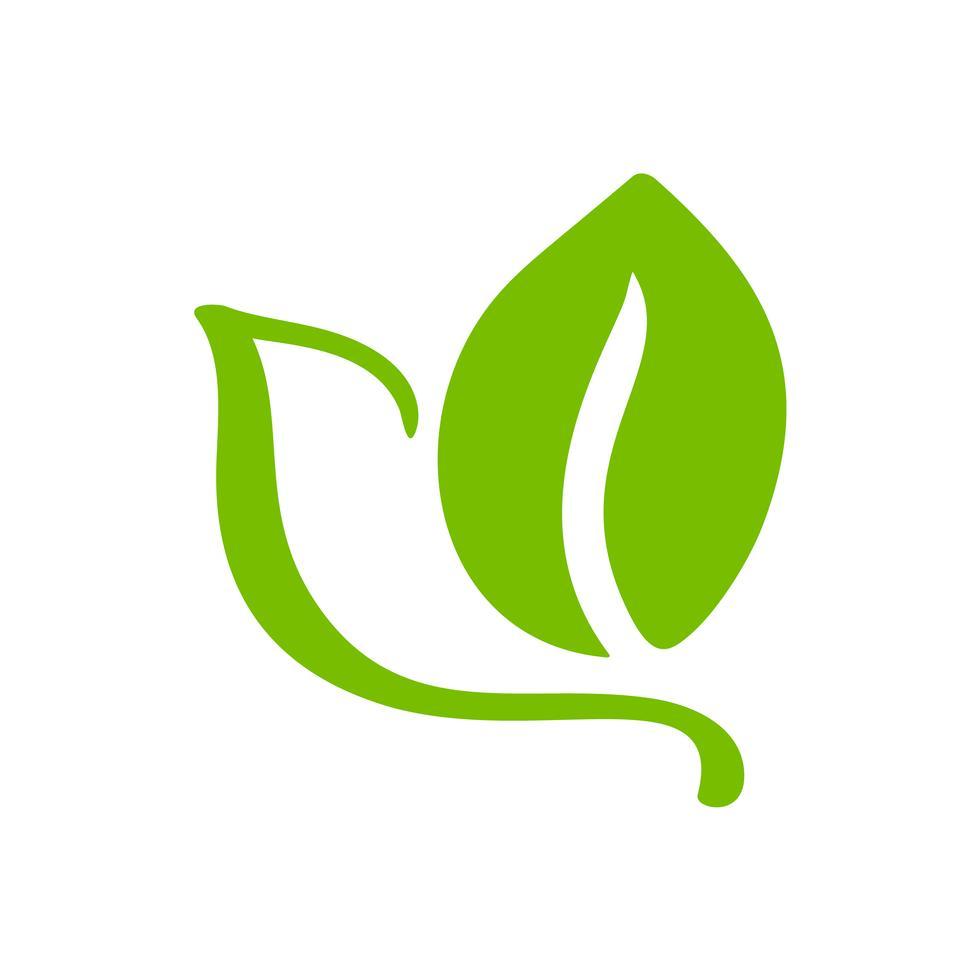 Logo Of Green Leaf Of Tea Ecology Nature Element Vector Icon Organic Eco Vegan Bio Calligraphy Hand Drawn Illustration Tea Logo Eco Logo How To Draw Hands