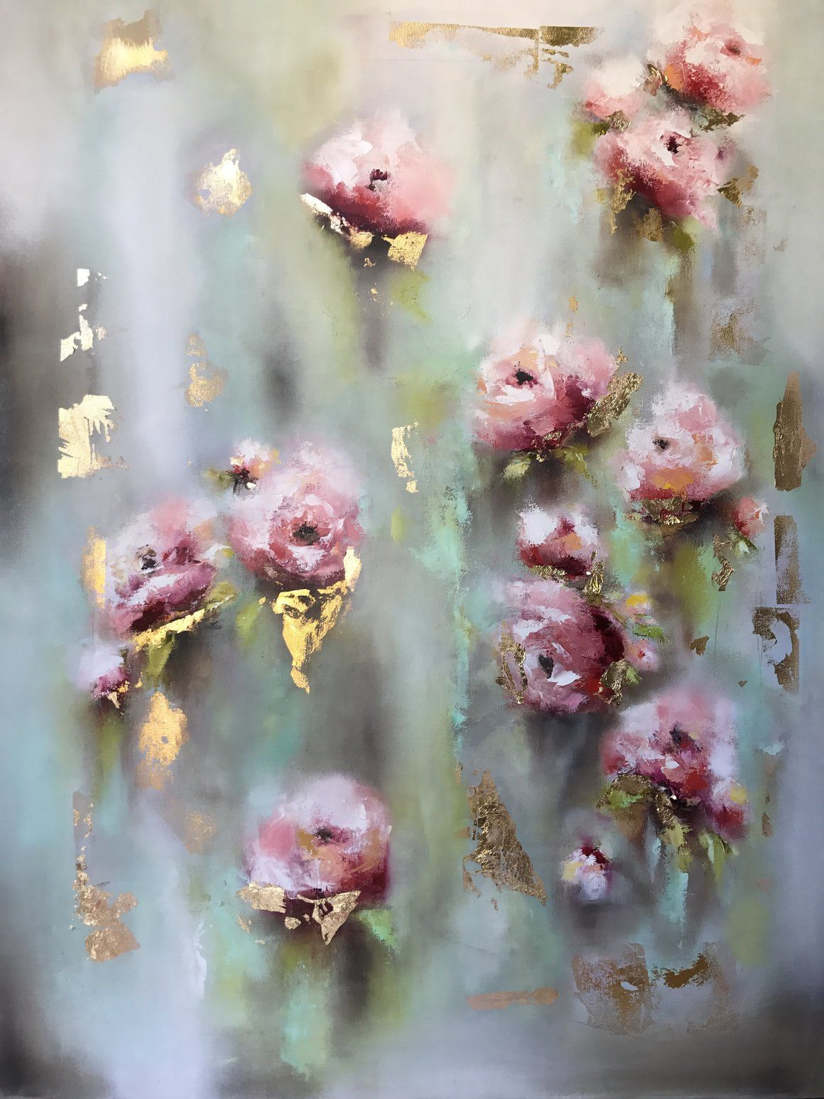Loveday Fine Art Oil Paintings Roses Floral Gold Leaf