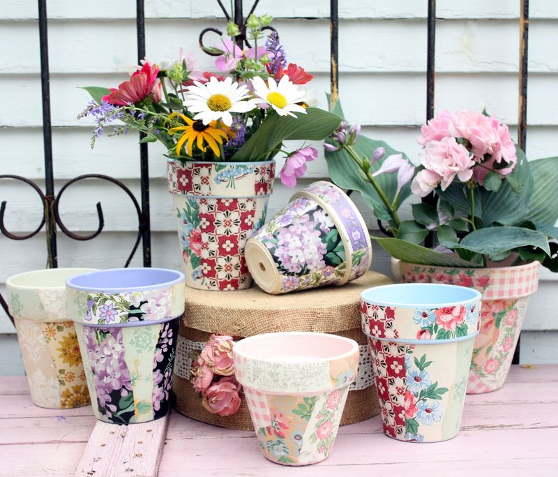 Vintage wallpaper covered flower pots using mod podge by mitzi curi at