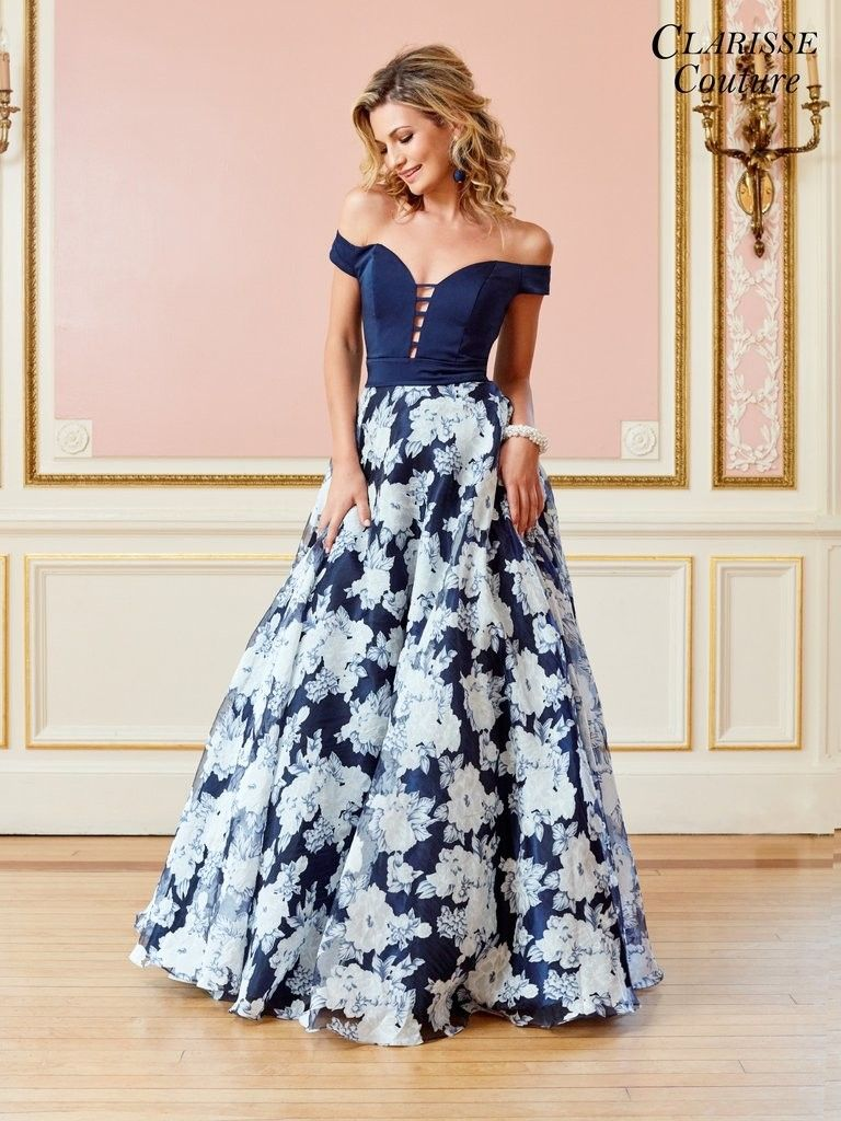Off shoulder prom gownnavy blue floral skirt epically awesome