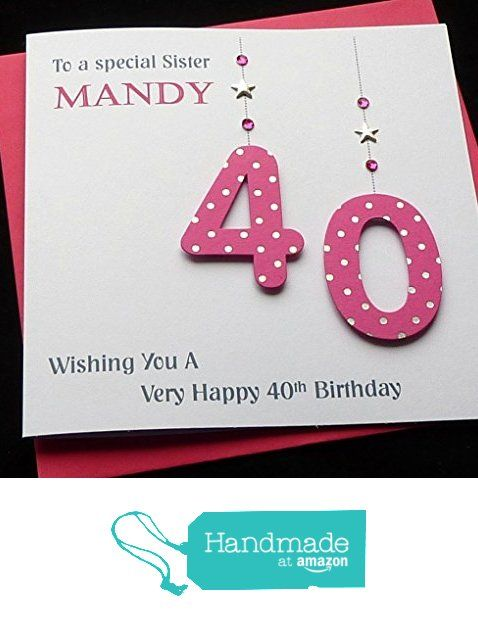 Handmade Personalised Hot Pink Age Number Birthday Card 21st 30th 40th 50th