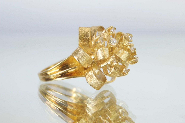 Vintage 18k Gold & Diamond Ribbon Style Cocktail Ring, Sz 6.75, .40tcw, 18.4g by CastilloDElegance on Etsy