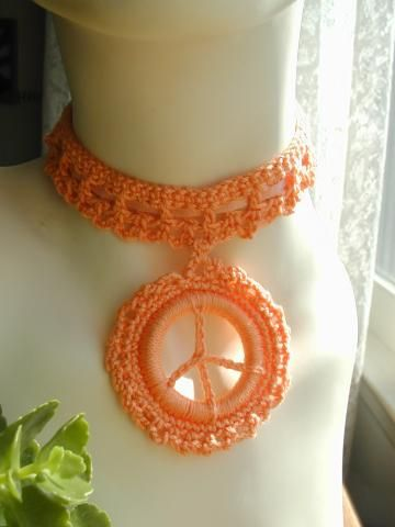 Peach Peace Sign Choker by madaboutyarn for $15.00