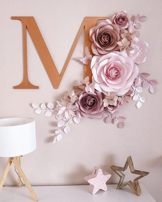 Paper Flowers for Girls Nursery - Nursery Paper Flower Wall Decor - Wall Paper Flowers - Paper Flowers Decor - Paper Flower Set