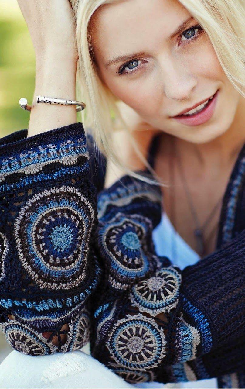 crochelinhasagulhas: chaqueta de punto con acabados de ganchillo